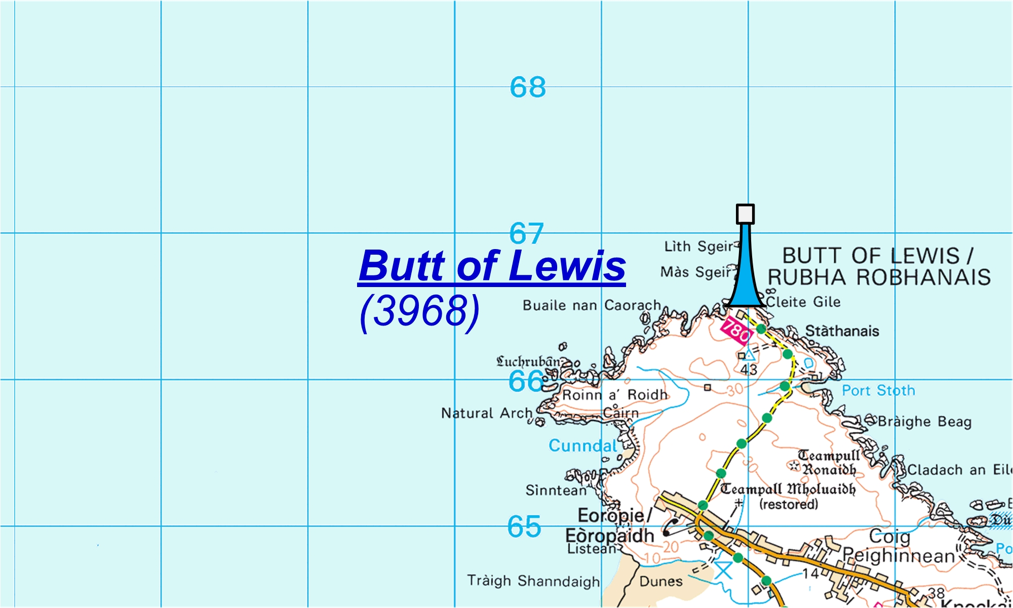 Butt of Lewis map