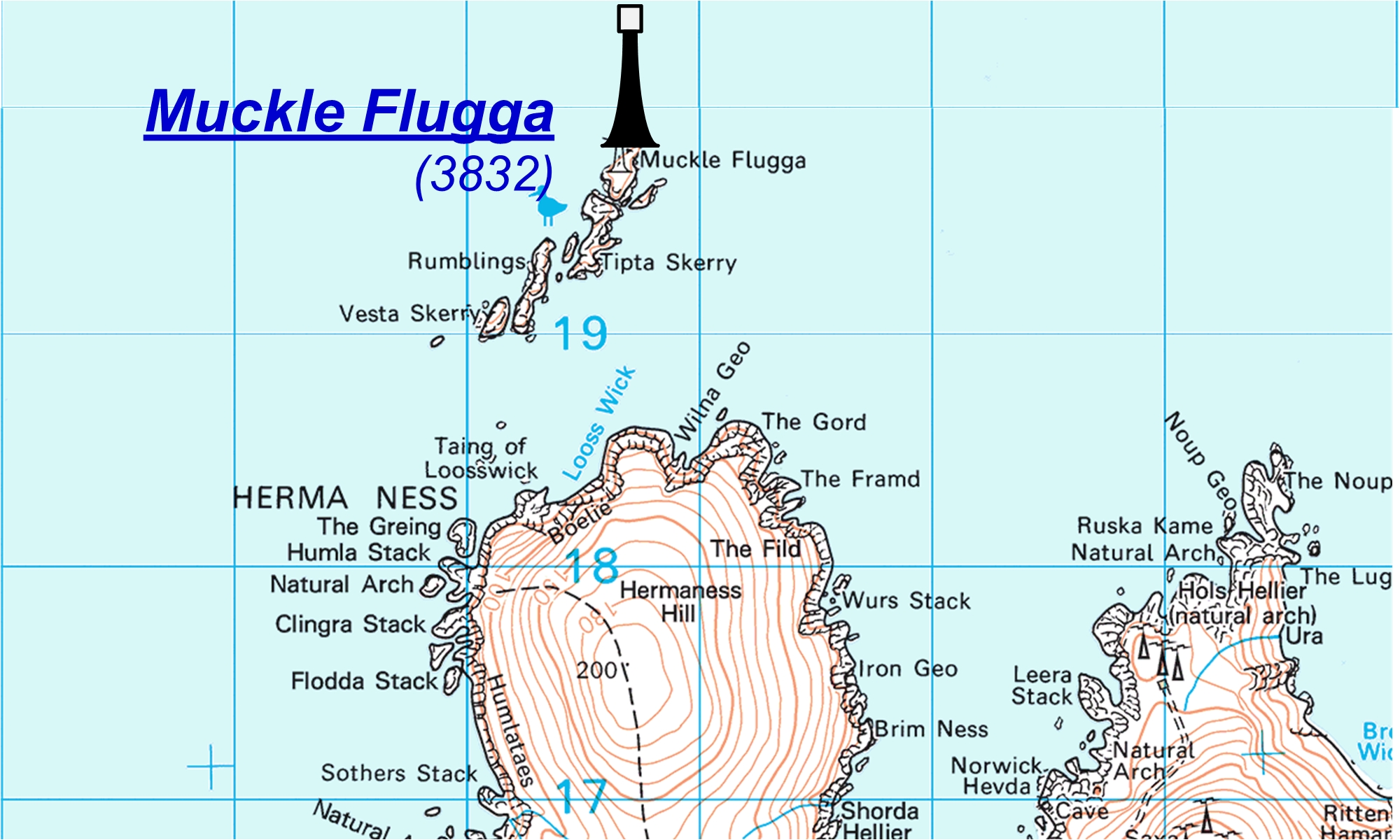 Muckle Flugga map